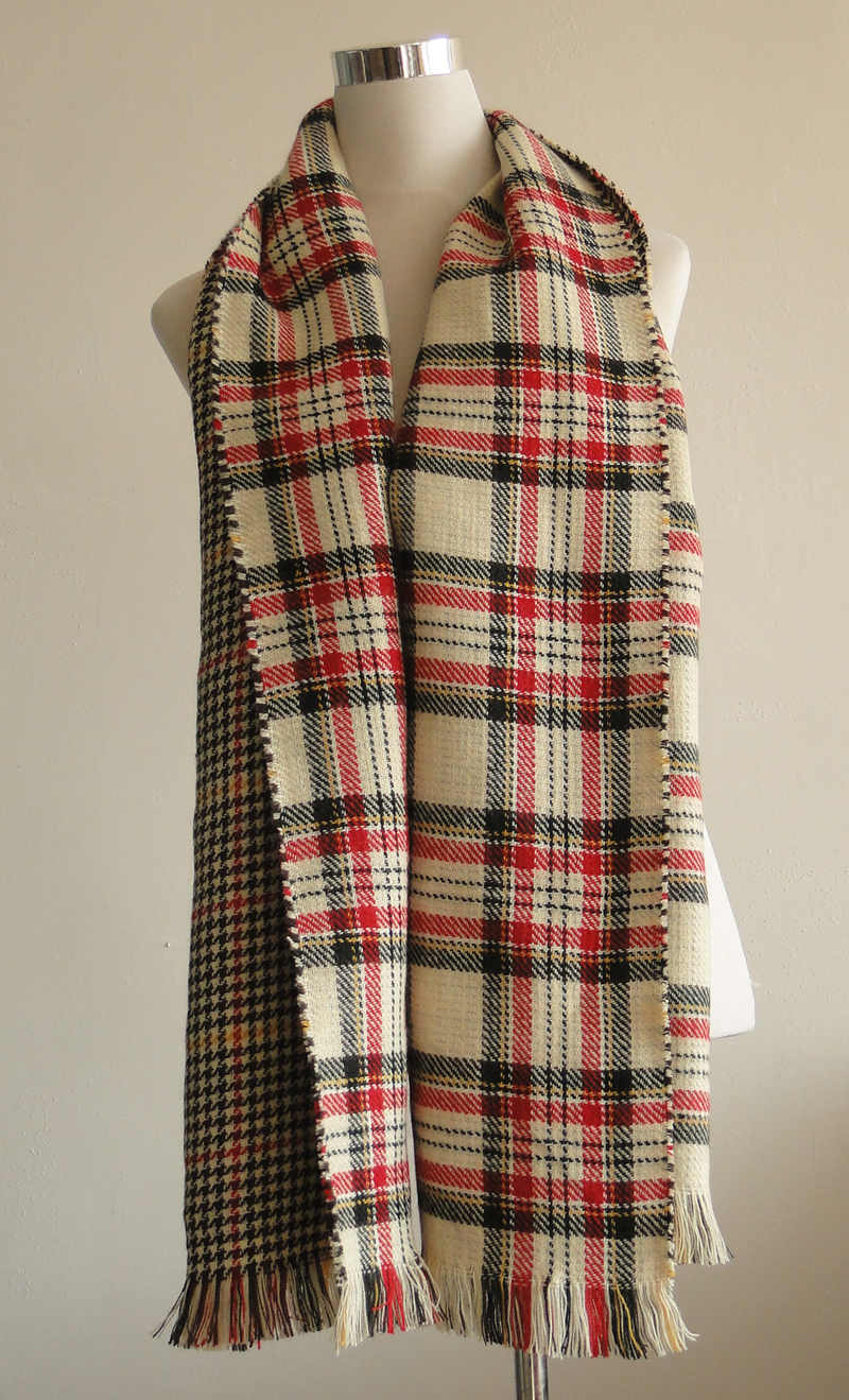 Reversible plaid shawl