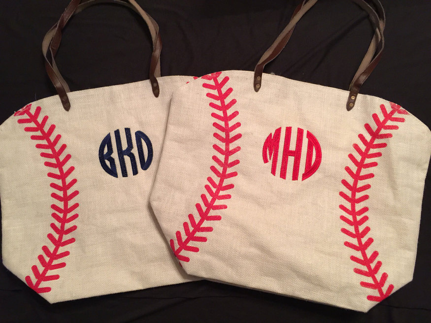 sports tote bag  football tote bag touch down tote   monogrammed canvas baseball tote bag bags